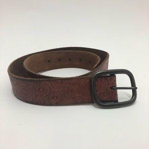 GAP Accessories - Gap Floral Laser Print Brown  Leather Belt Size M